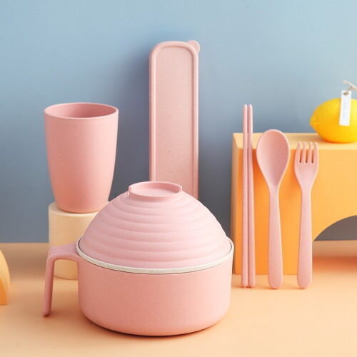 6 pieces instant noodle tableware in pink colors