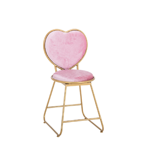 pink heart shaped makeup chair