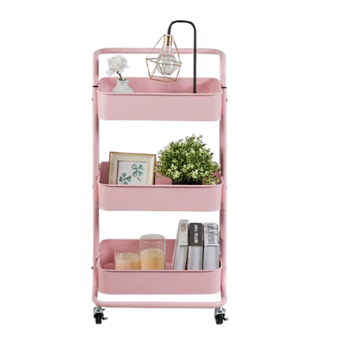 pink multitier rack with wheels