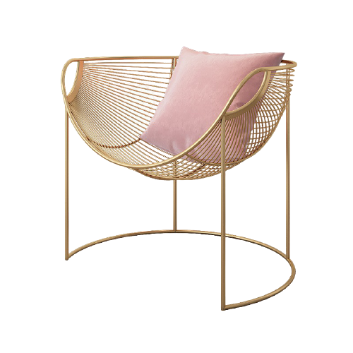 nordic gold pink metal chair