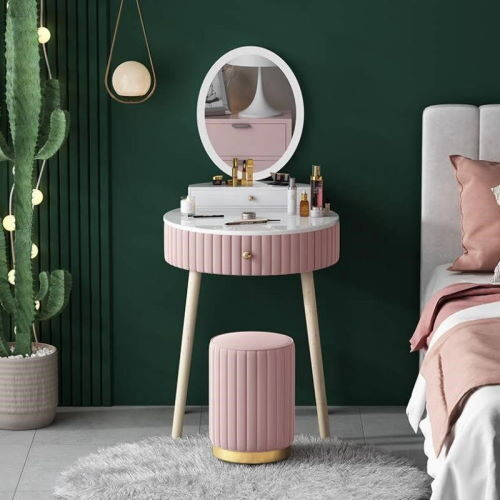 nordic luxury pink makeup table