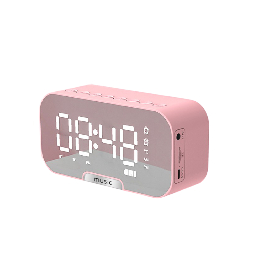 pink alarm clock with bluetooth speaker