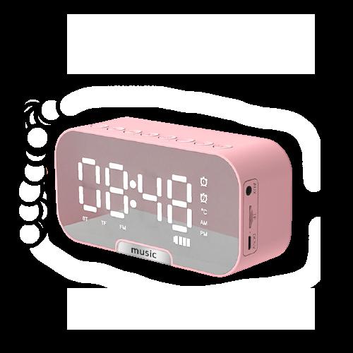 pink alarm clock with bluetooth speaker