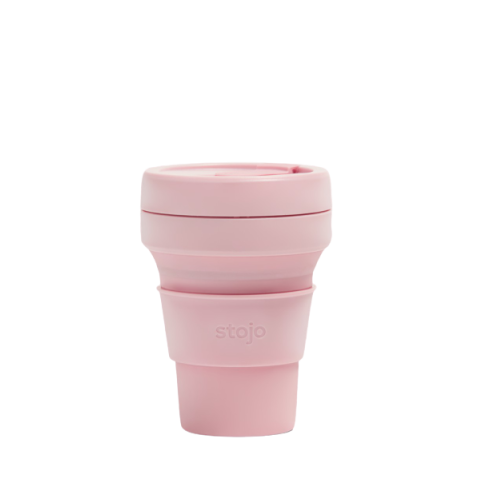 pink carnation stojo collapsible travel cup