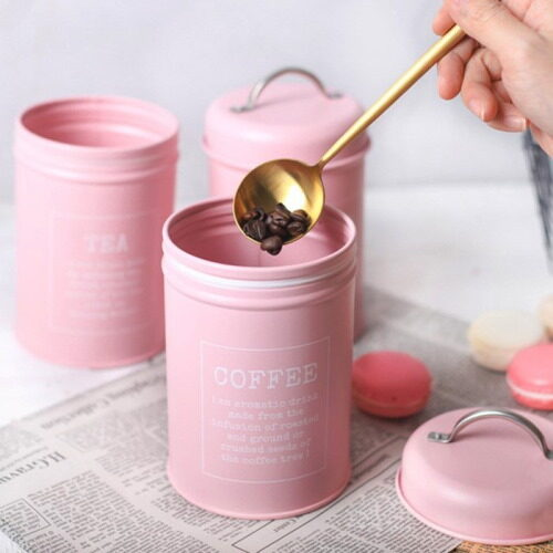 pink coffee and tea canisters