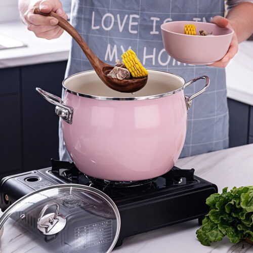 pink non stick enamel soup pot
