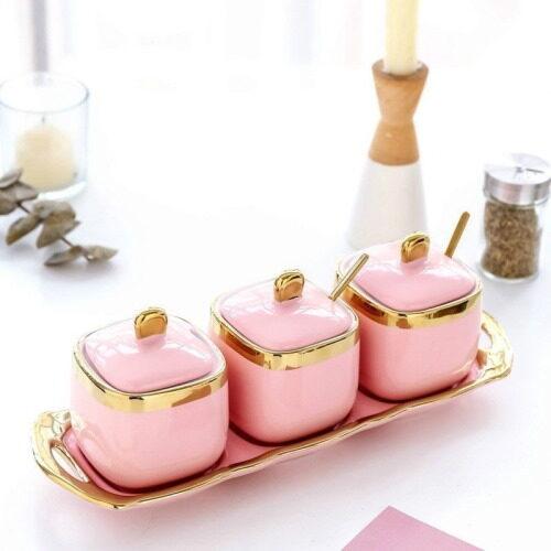 pink gold ceramic food spice jar