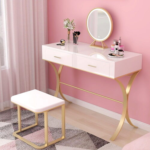 pink gold makeup table set