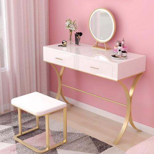 pink gold makeup table set
