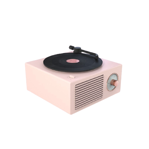 pink vinyl retro bluetooth speaker