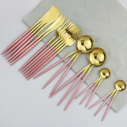 stainless steel pink gold dinner set